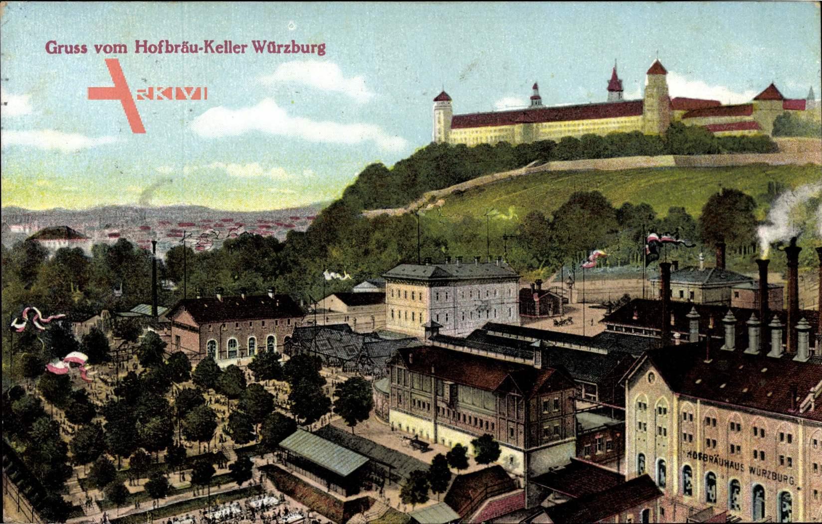 Würzburg am Main Unterfranken, Hofbräu Keller, Stadtpanorama
