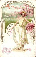 Glückwunsch Pfingsten, Junges Mädchen, Weißes Kleid, Kirschblüten