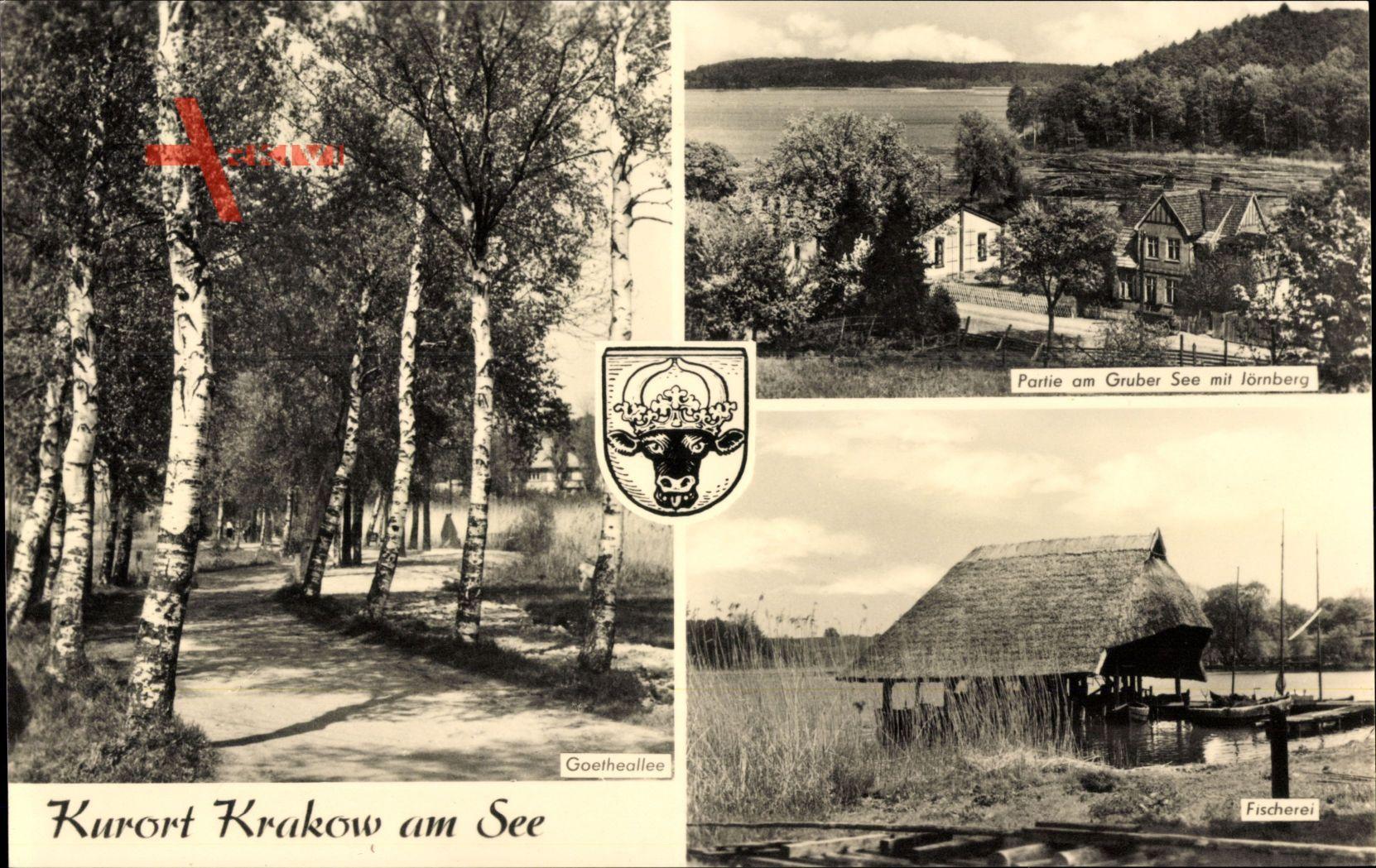 Wappen Krakow am See, Partie am Gruber See mit Jörnberg, Fischerei