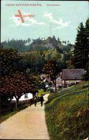 Ober Katharinberg, Drachenstein, Jäger mit seinem Jagdhund, Herbst