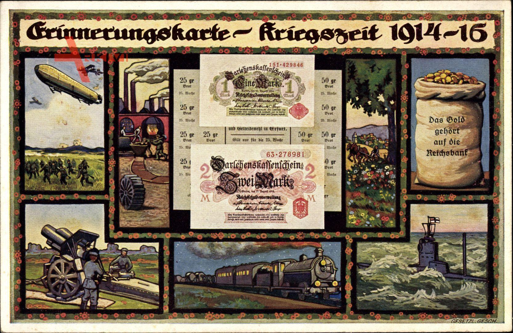 Geldschein Erinnerungskarte, Kriegszeit 1914 bis 1916, Darlehenskassenschein