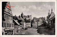 Colditz Sachsen, Markt mit Schloss, Manufaktur Herbst