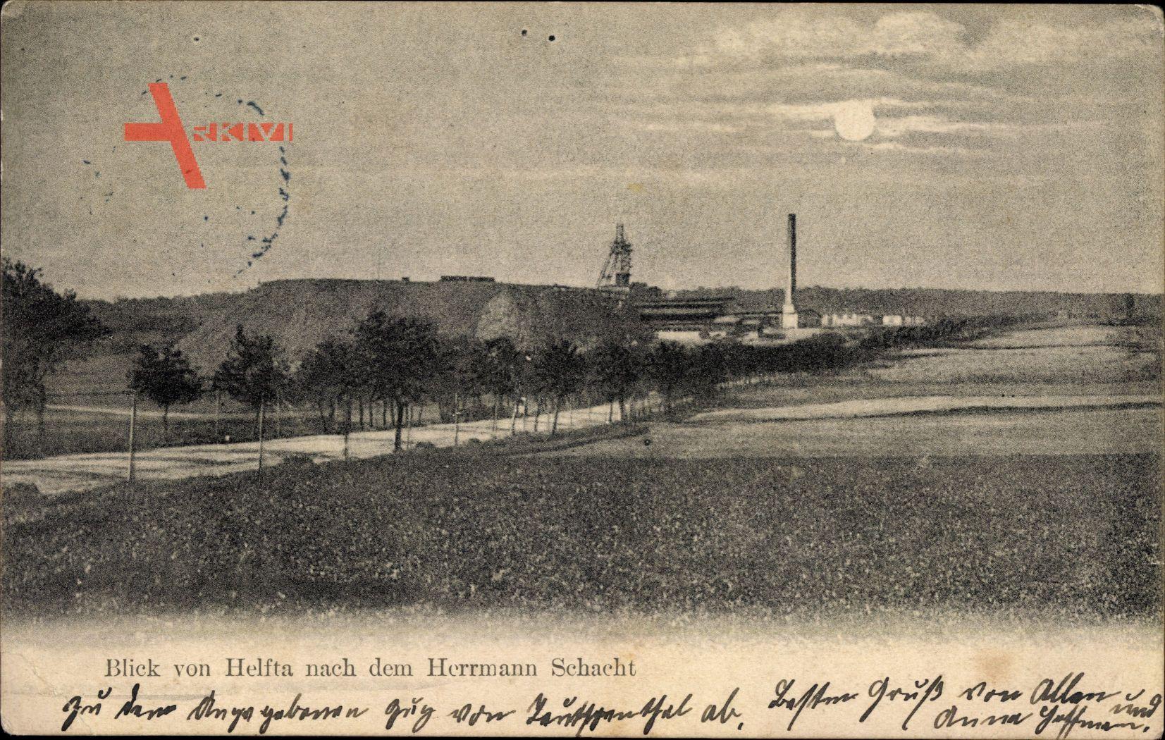 Blick von Helfta nach dem Herrmann Schacht um 1913