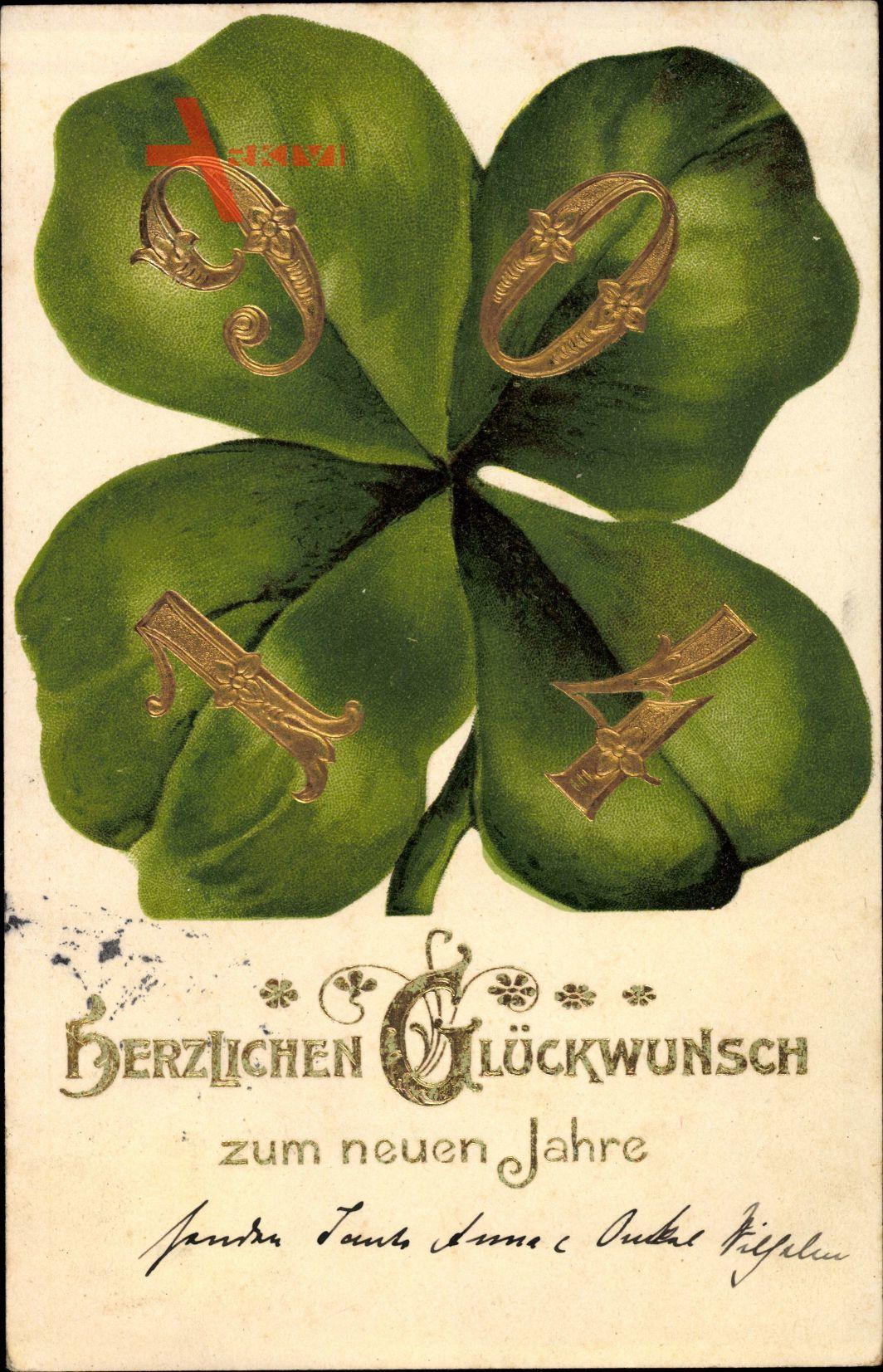 Glückwunsch Neujahr, Jahreszahl 1904,
