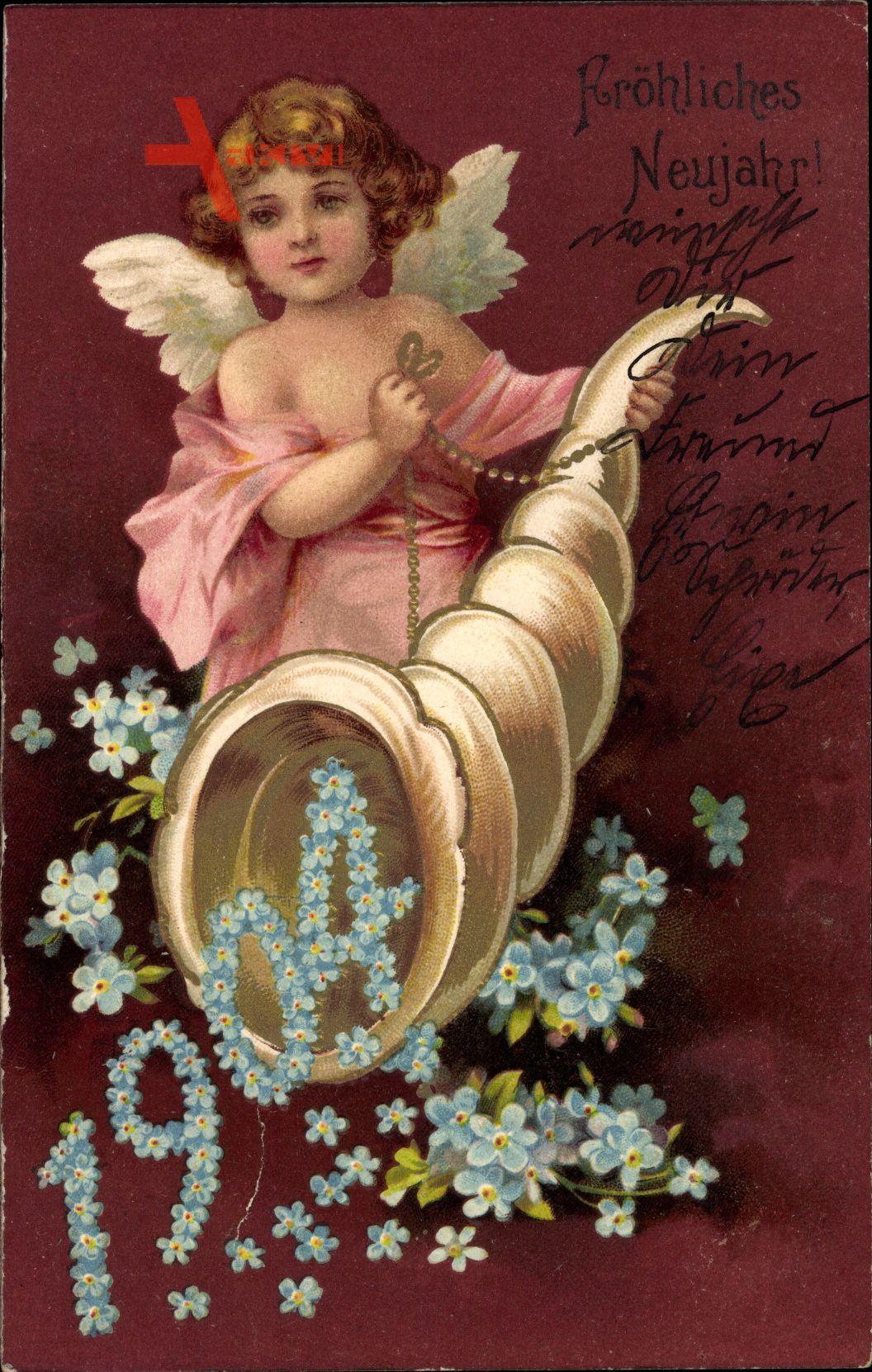 Glückwunsch Neujahr,  Jahreszahl 1904, Füllhorn, Engel