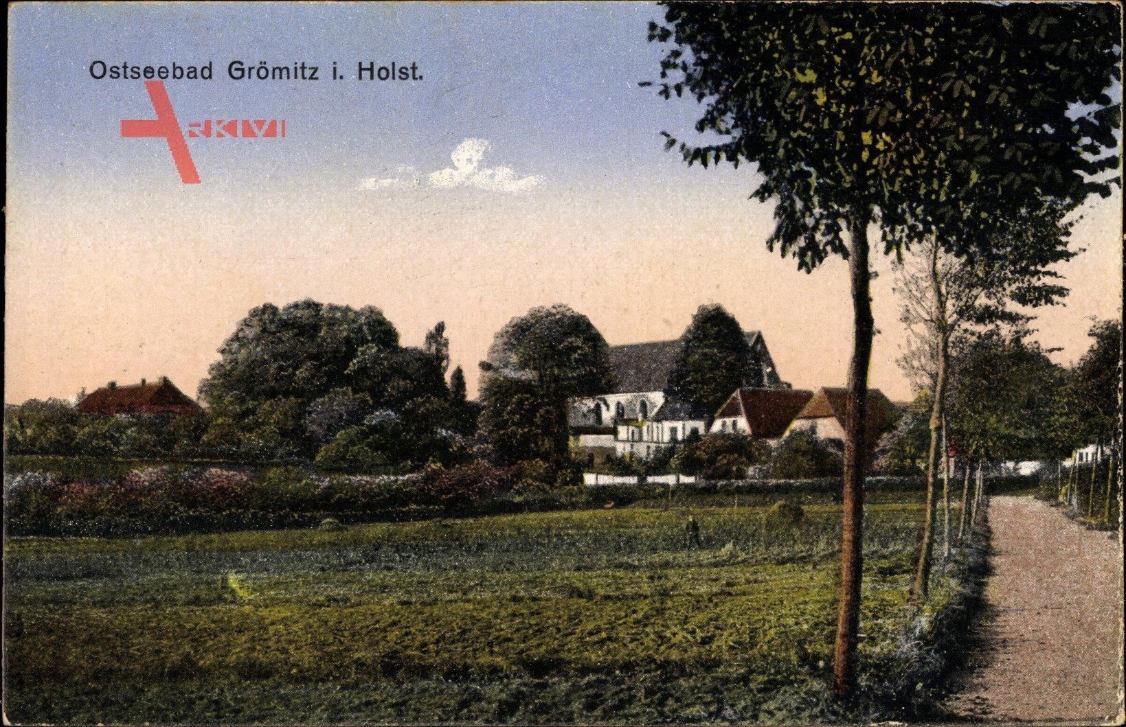 Grömitz in Ostholstein, Straßenpartie mit Blick zum Ort, Felder