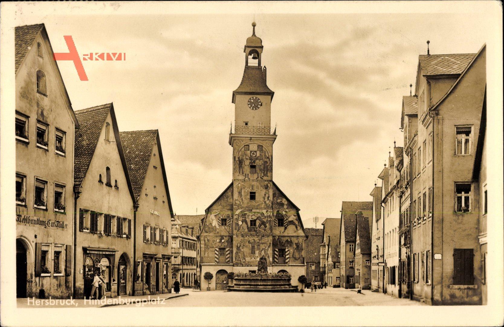 Hersbruck im Nürnberger Land Bayern, Blick auf den Hindenburgplatz