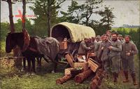Ankunft des Marketenderwagens in der Gefechtslinie, I. WK
