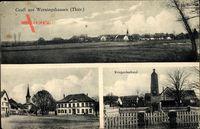 Werningshausen Thüringen, Kriegerdenkmal, Gasthaus, Kirche, Totale