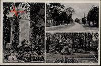Hohengöhren Sandau an der Elbe im Kreis Stendal, Heldendenkmal, Garten