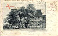 Schern Werther Thüringen, Blick auf das Gasthaus, Fachwerkhaus, Straßenpartie