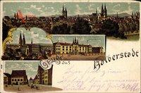 Halberstadt, Kaserne d. Kürassierregiments Seydlitz, Dom, markt,Rathaus