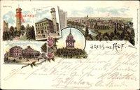 Hof an der Saale Oberfranken Bayern, Labyrinth, Rathaus, Post, Thomashöhe