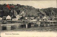 Pielenhofen in der Oberpfalz, Flusspartie, Brücke, Ortschaft