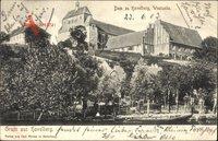 Havelberg in Sachsen Anhalt, Blick auf den Dom, Westseite, Häuser