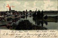 Calbe an der Saale im Salzlandkreis, Totalansicht der Ortschaft, Fluss