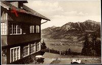Oberstdorf im Allgäu, Blick vom Alpenhotel Schönblick auf den Ort