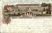 Herrenhausen Hannover, Blick auf das Schloss, Teich, Parkanlage