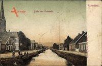 Papenburg im Emsland, Partie von Antenende, Fluss, Kinder, Häuser
