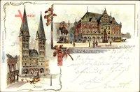 Hansestadt Bremen, Blick auf den Dom, Rathaus mit Roland, Kutsche