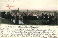 Hof an der Saale Oberfranken Bayern, Totalansicht der Ortschaft, Kirche