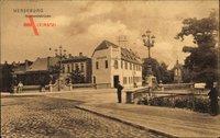 Merseburg an der Saale, Straßenpartie mit Blick auf die Gotthardsbrücke