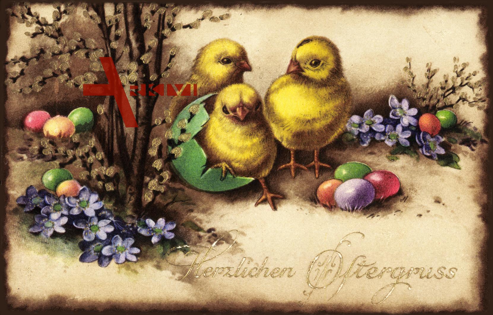 Glückwunsch Ostern, Küken, Ostereier, EAS M 1506