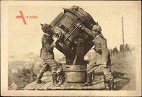 Kaiserreich, Zwei Soldaten bedienen Scheinwerfer, Luftabwehr