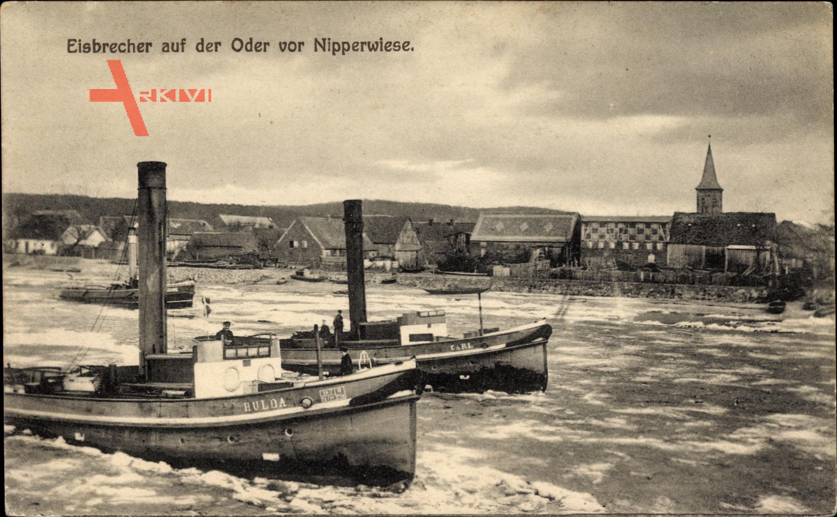 Ognica Nipperwiese Widuchowa Fiddichow Pommern, Eisbrecher im Wasser