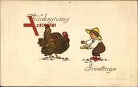 Kleiner Junge mit Strohhut versucht Truthahn für Thanksgiving um 1909 zu fangen