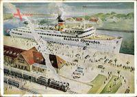 Dampfschiff des Seedienst Ostpreußen, Herbst, Anlegestelle, Reichsbahn