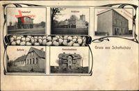 Sowczyce Schoffschütz Schlesien, Bahnhof, Schloss, Schule, Beamtenhaus, Restaurant