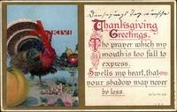 Thanksgiving Spruch von Whittier und Truthahn zwischen Kürbis und Obstschale um 1910