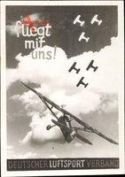 Foto Deutscher Luftsportverband, DLV e. V., Fliegt mit uns, Flugzeug, Biplan