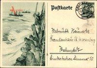 Fischer auf Hochsee, 6 Pfennig WHW