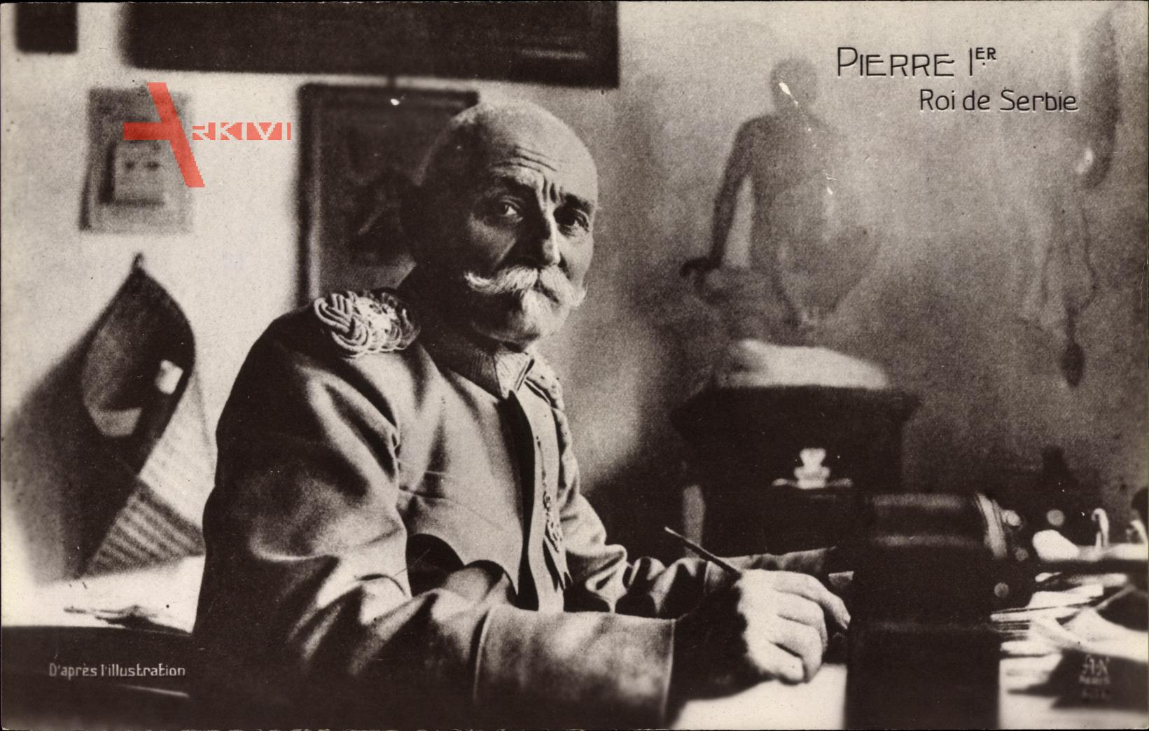 Peter I. Karadjordjevic, König von Serbien, Portrait am Schreibtisch, I. WK