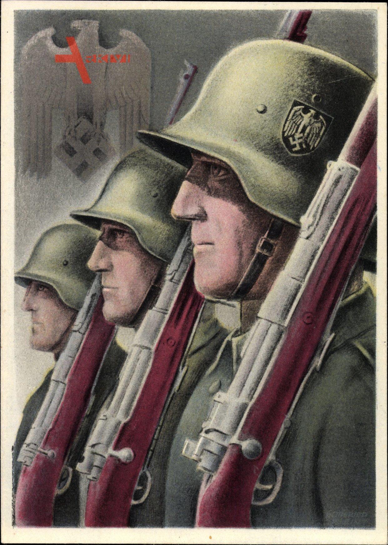 Klein, Gottfried, Deutsche Wehrmacht, Soldaten, Gewehre, Stahlhelme, II. WK
