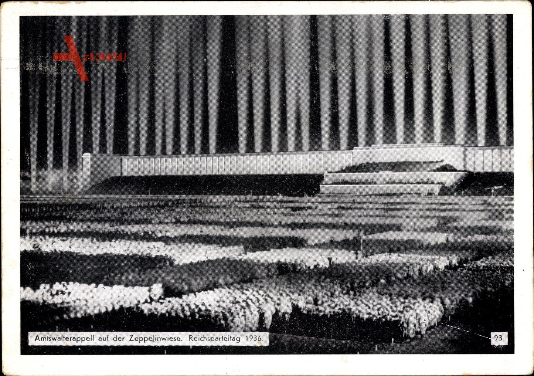 Nürnberg, Reichsparteitag, Amtswalterappell auf der Zeppelinwiese, Nachtbeleuchtung