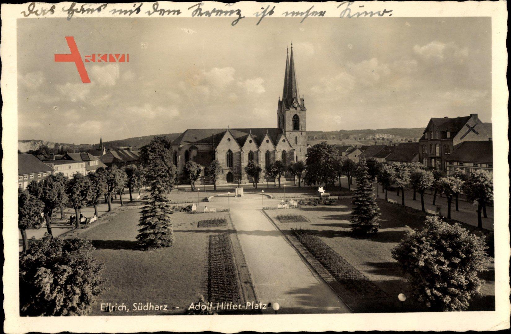 Ellrich Harz Thüringen, Adolf Hitler Platz, Blick zur Kirche