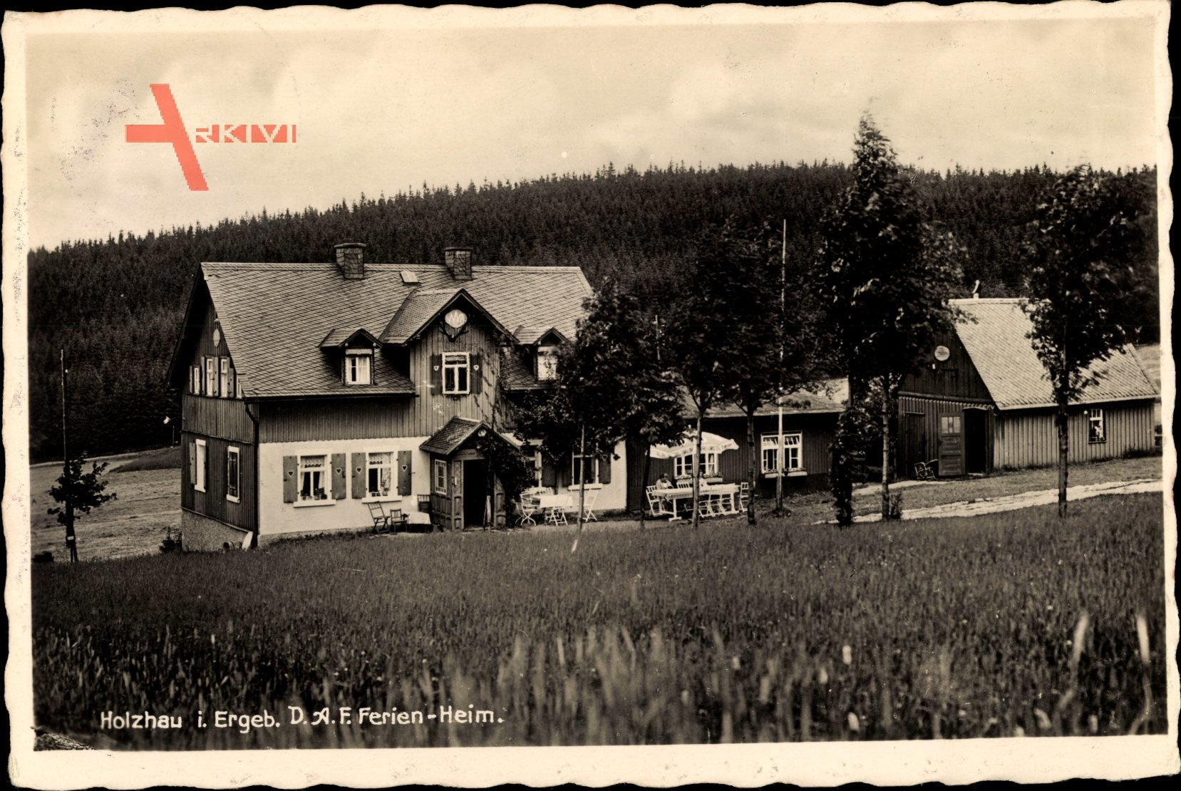 Holzhau Rechenberg Bienenmühle Erzgebirge, Blick zum D.A.F. Ferienheim, Wald