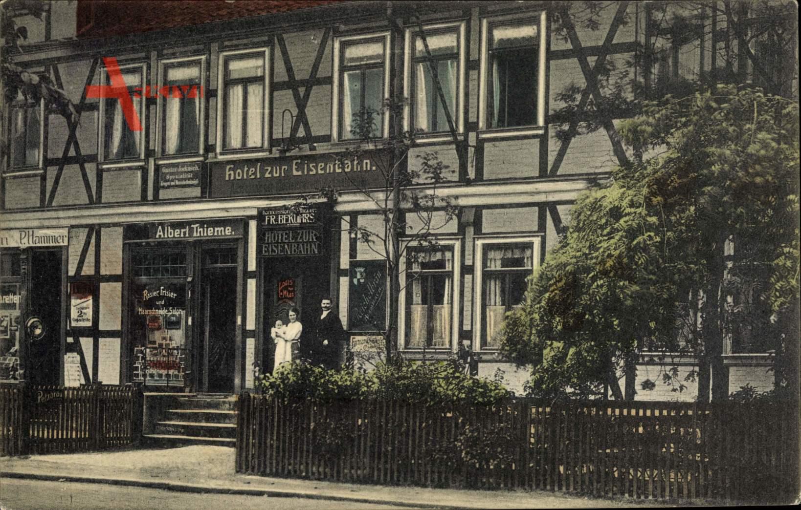 Halberstadt Sachsen Anhalt, Hotel zur Eisenbahn, Friseursalon Albert Thieme, Geschäft P. Hammer