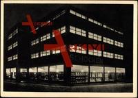 Chrimmitschau, Blick auf Kaufhaus Schocken, Neuzeitlicher Zweckbau, 1928 in 6 Monaten errichtet, Serie Stadt und Straßenbild, Nacht