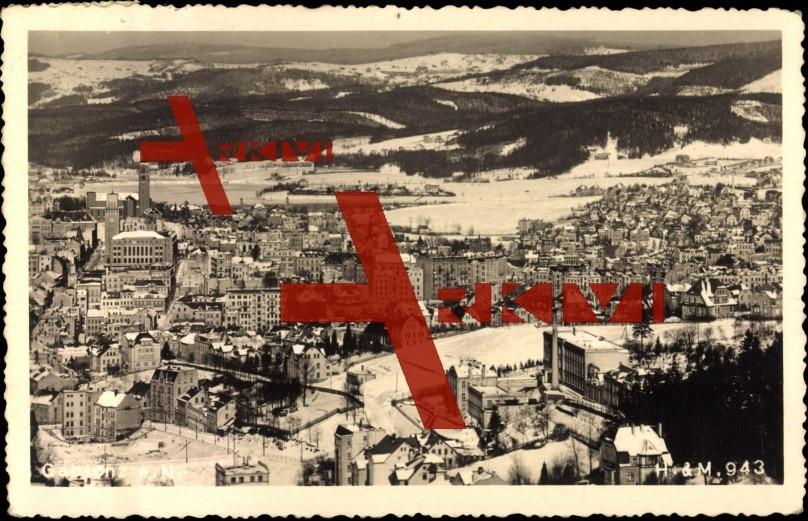 Gablonz, Ort aus der Höhe gesehen, Häuser