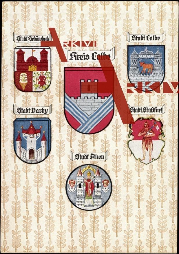 Wappen Calbe Saale, verschiedene Stadtwappen