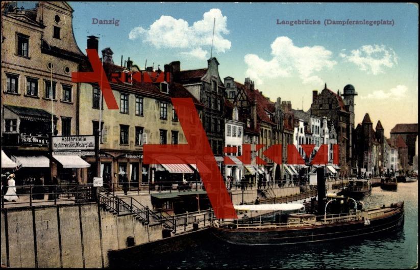 Danzig, Langebrücke, Dampferanlegeplatz, Dampfer