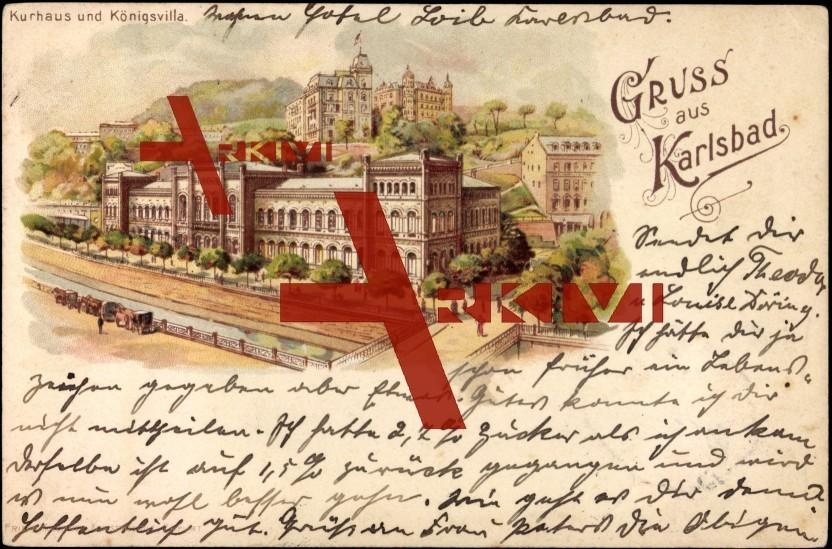 Karlsbad, Kurhaus und Königsvilla, Brücke