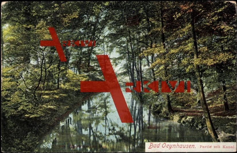Bad Oeynhausen, Partie mit Kanal, Bäume, Gebüsch