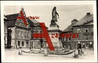 Tabor, Blick auf den Marktplatz mit Statue