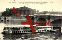 Paris, Pont de l.Concorde,Chambre des Deputes,bateau
