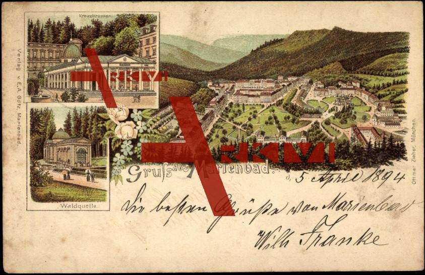 Marienbad, Waldquelle, Kreuzbrunnen, Ort, Zieher